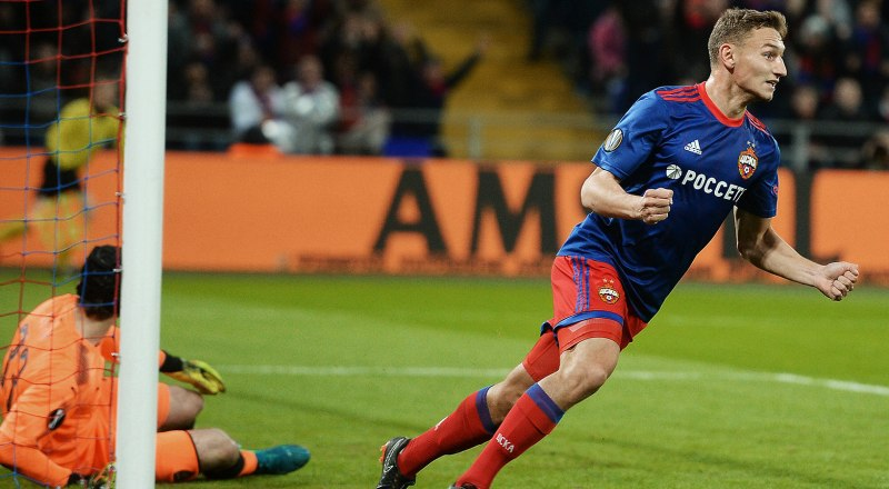 Одиннадцатый гол забивает в ворота соперников форвард сборной России и московского ЦСКА Фёдор Чалов.
