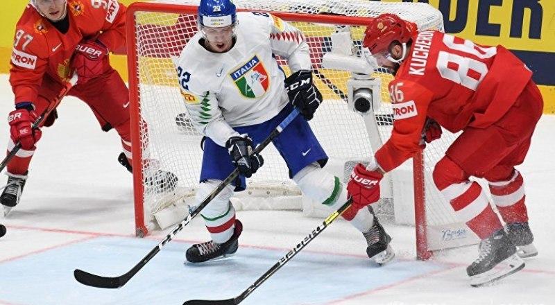 На 31-й секунде с начала поединка Россия - Италия начался разгром итальянских хоккеистов.