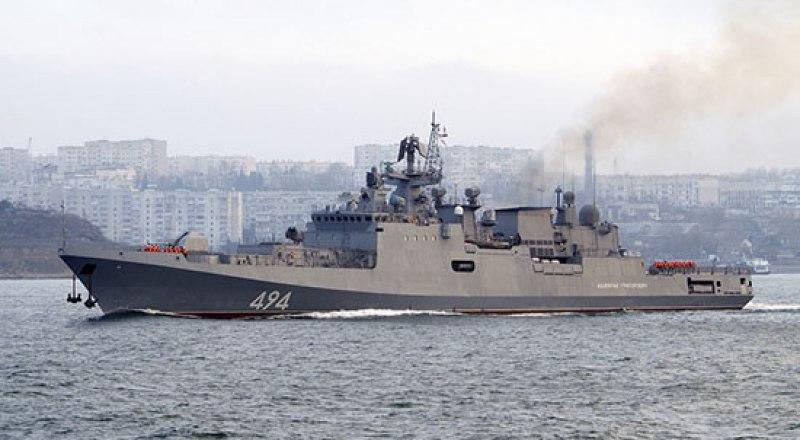 Фрегат ЧФ «Адмирал Григорович» вышел из-под удара условного противника и применил по нему «Калибры».