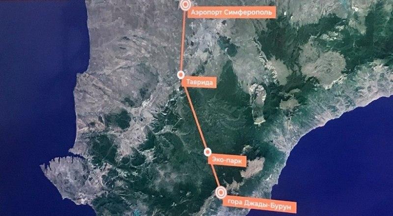 Таков маршрут предлагаемой канатной дороги.