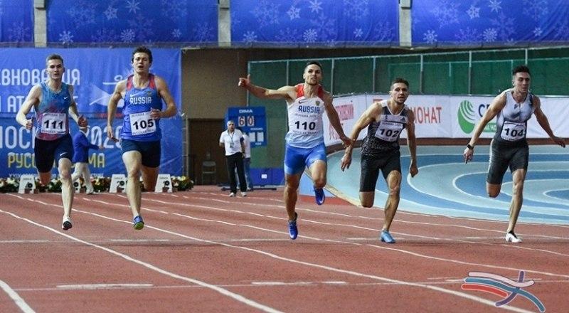 «Русская зима». Финал в беге на 60 м. Вторым финиширует симферополец Руслан Перестюк (крайний справа).