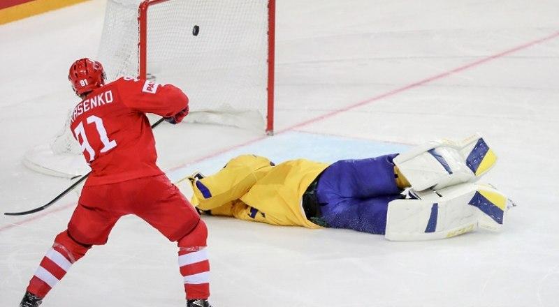 Решающую шайбу в ворота шведов забивает Владимир Тарасенко.