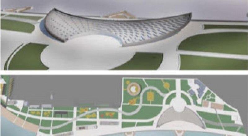 Так выглядит схема реконструкции Керчи: длинная набережная, театр на вынесенном в море пирсе и яхтенные марины. Фото из открытых источников.