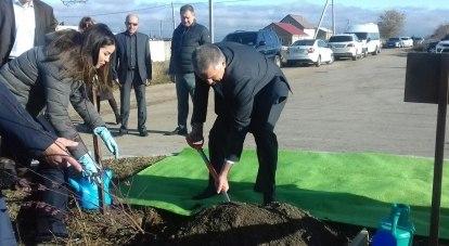 Глава Крыма  высаживает саженцы.