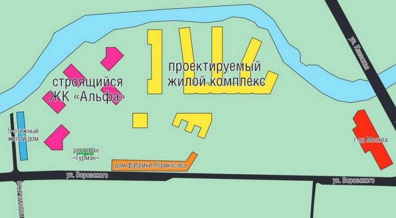 Схема застройки участка набережной Салгира. Инфографика Родиона Косенцова.