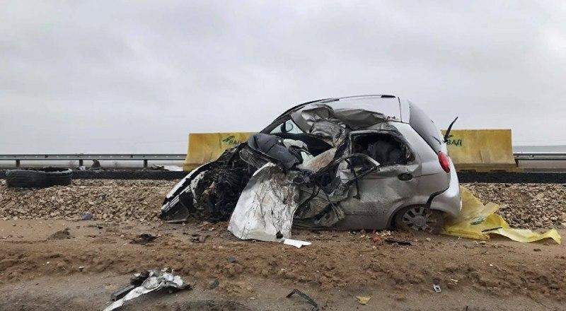 Одна из машин, пострадавших в ДТП на трассе «Таврида». Ещё 4 авто получили повреждения.