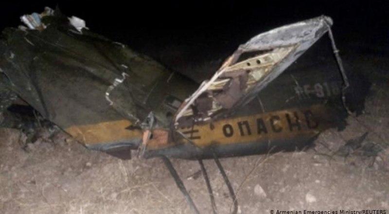 Обломок сбитого над Арменией российского вертолёта Ми-24.